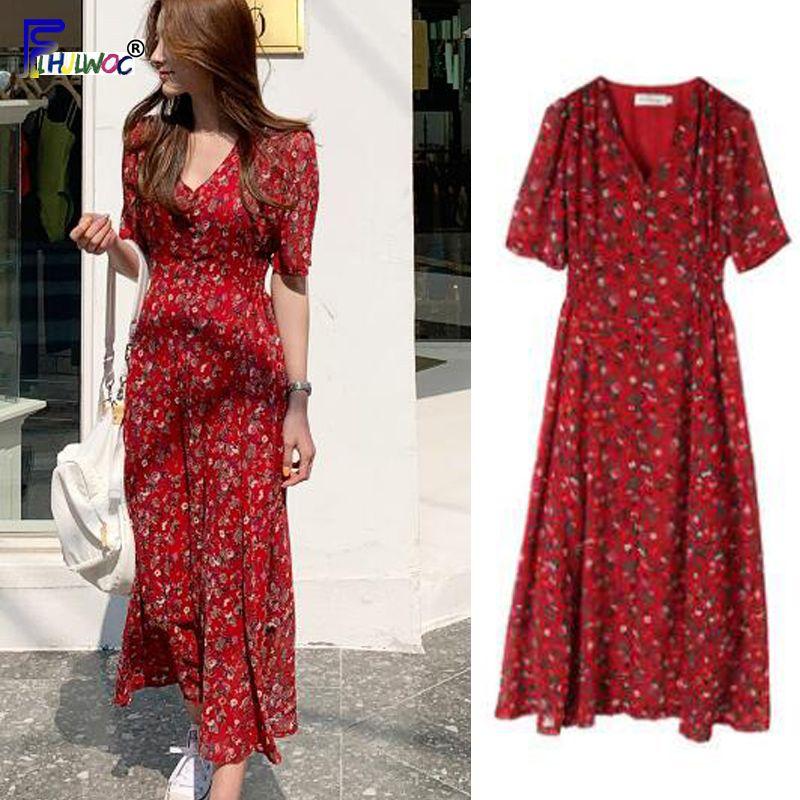 Vintage Robes Red Hot femme mode coréenne Style Design Slim Une ligne Tempérament Lady en mousseline de soie imprimé floral Robe longue 610