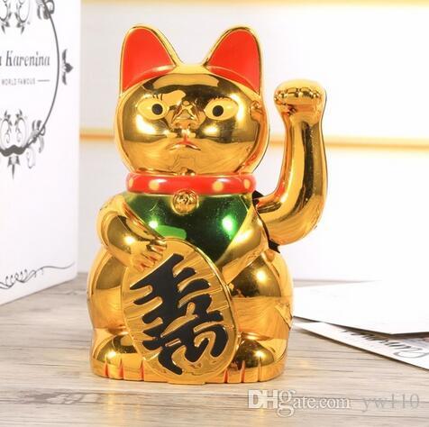 Chinese Sorte Gato Riqueza Waving Cat Mão Acenando Ouro Feng-Shui Sorte Maneki Neko Decoração Da Casa Bonito Bem-vindo Acenando o Gato Por Atacado