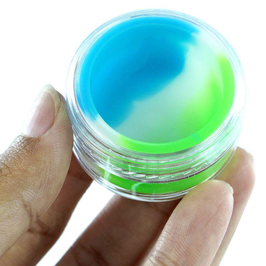 cores múltiplas 7ml recipientes de concentrado de cera acrílica claras, recipiente de plástico com silcone interior de silicone anti-aderente Dab armazenamento frascos