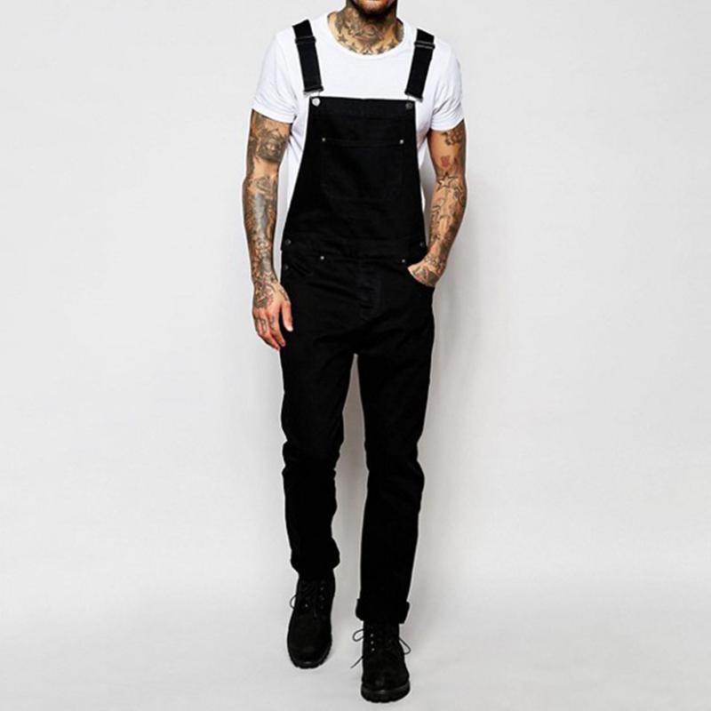 2020 мода мужские рваные джинсы комбинезоны твердые летние высокие уличные проблемные джинсовые нагрудники комбинезоны мужские подтяжки брюки D30