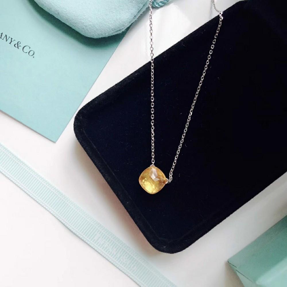 Bijoux pour femmes 2019 début de l'été nouvelle mode matériel en argent sterling collier de diamant jaune haute citrineon