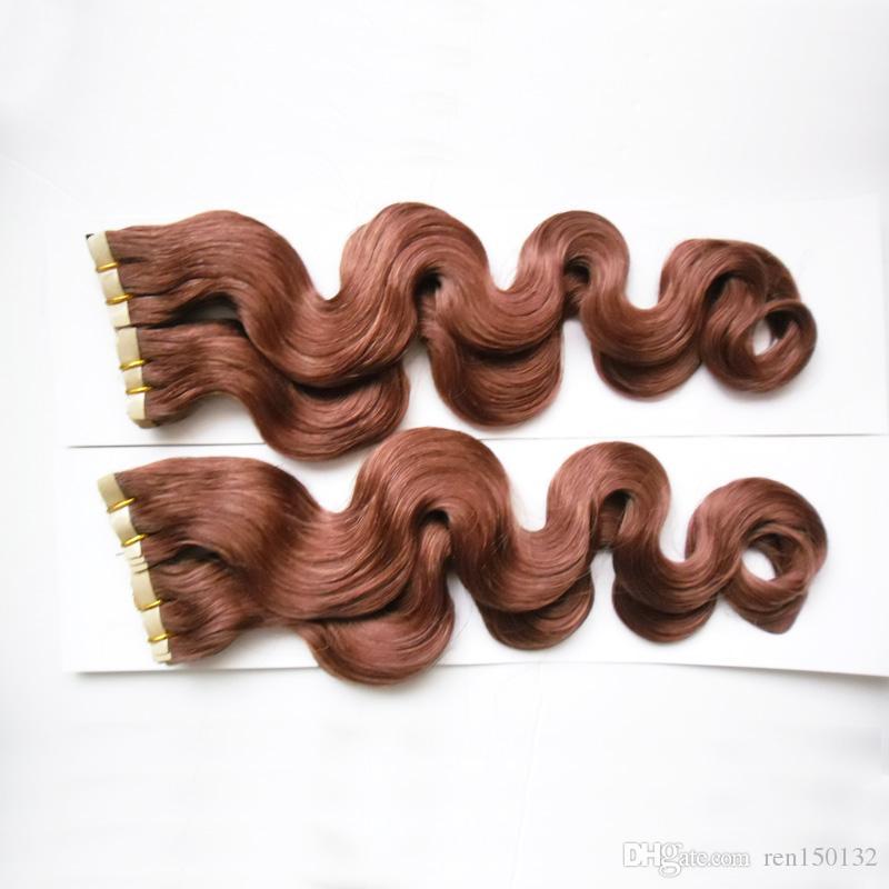 Onda do corpo Fita em Extensões Do Cabelo 100% Humano Cabelo Remy 200g 80 Pcs Fita Colorida na Trama Da Pele Do Cabelo Cheveux Extensão