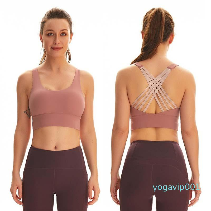 Sexy Back Yoga Shirt Mulheres Bandage Yoga Top X Voltar Sports Top à prova de choque Workout Sports Bra Correndo roupa da aptidão