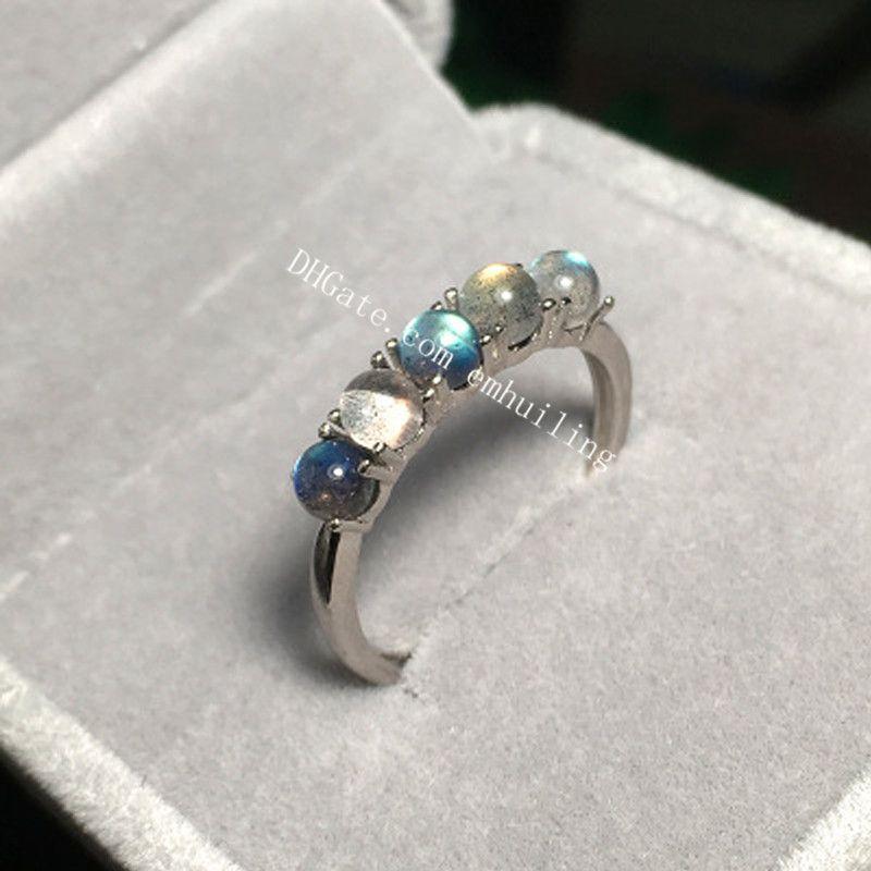5 Pcs Único Anel Labradorite Arco Íris 925 Anel Ajustável de Prata Esterlina Handmade 3mm Mini Rodada Natural Cinza Moonstone Gemstone Nupcial anel