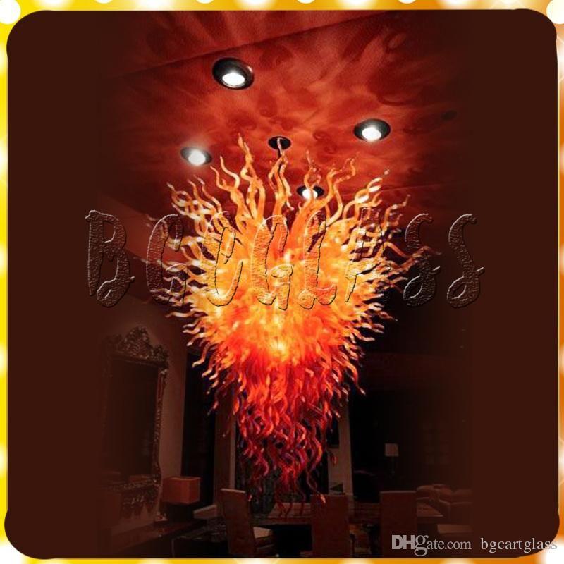 Moderne Kronleuchter Licht Big Size Luxus Fire Red Glas Wohnzimmer Pendelleuchte Dale Chihuly Hand geblasenem Glas Kunst Led Kronleuchter Beleuchtung