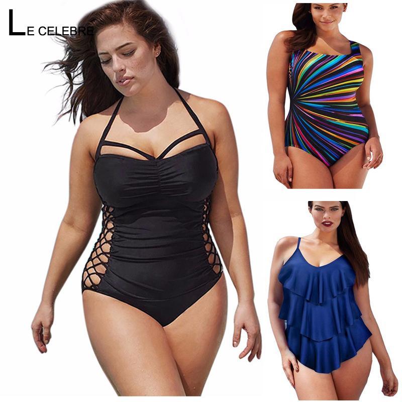 5XL Large Big Plus Size Swimwear For Women Sexy One Piece Swimsuit 2018 Slimming Female Print Retro Beach Bathing Suit Bodysuit