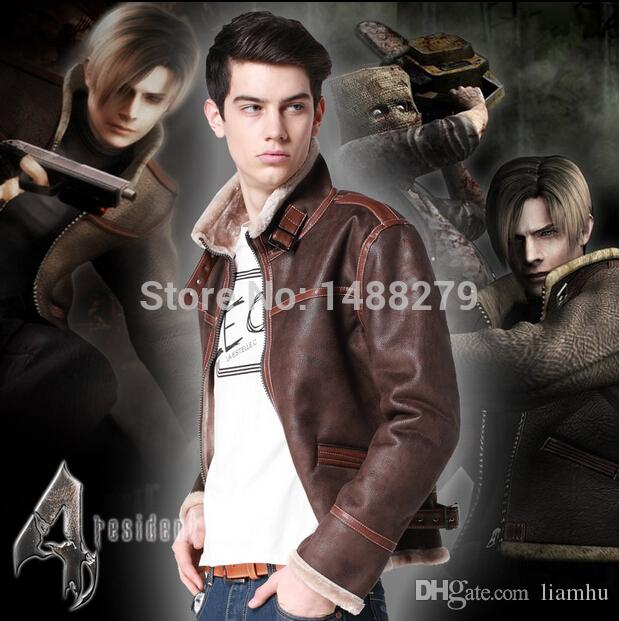 New 2019 High Quality New Resident Evil 4 Leon Kennedy Leather Jacket Cosplay Costume Faux Fur Coat For Men Plus Size S 4xl Anime Maid Cosplay Costume Japanese Anime Halloween Costumes From