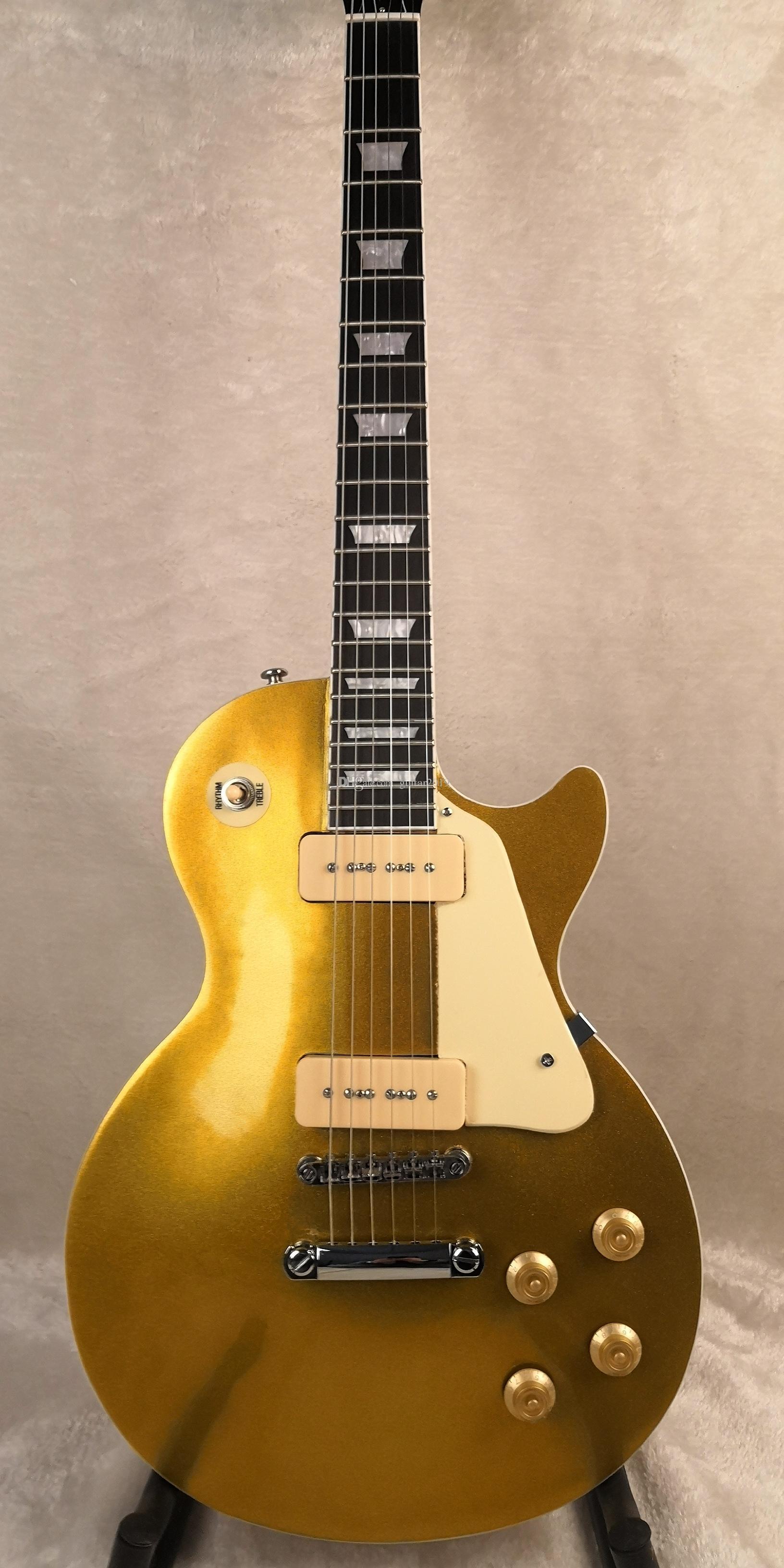 Frete grátis Custom Shop Goldtop P-90 coletor de mogno corpo e pescoço Rosewood Fretboard Chinês Guitarra Elétrica