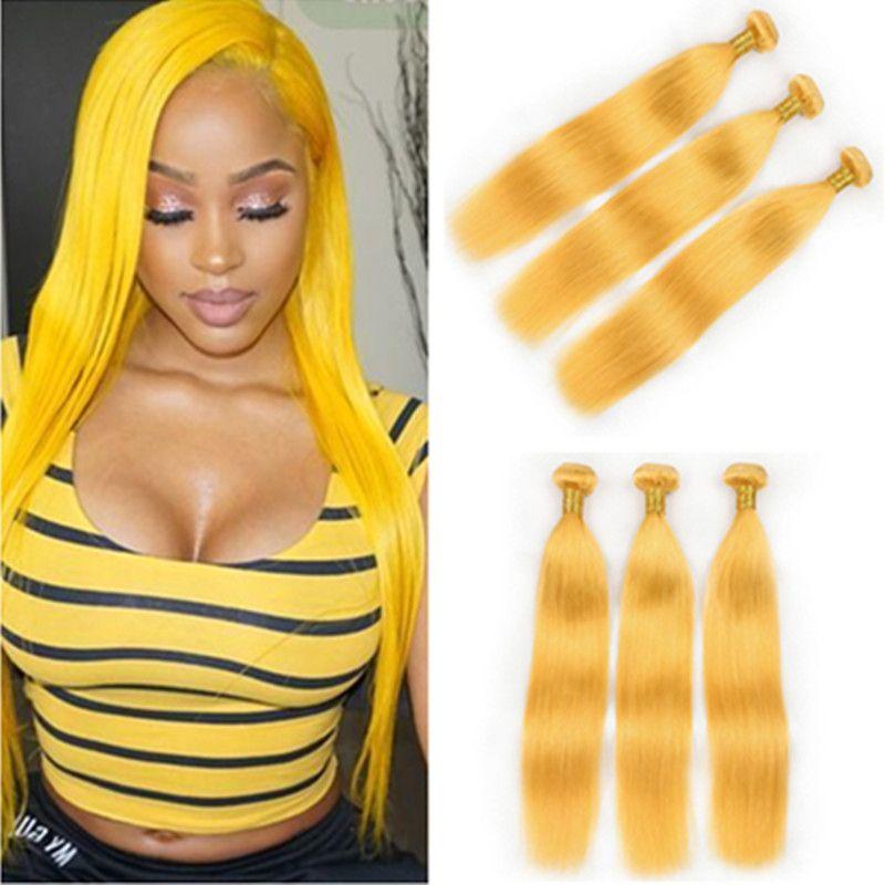 """Pure Yellow serica capelli umani brasiliani Bundle offerte 3pcs colorati gialli capelli umani del Virgin del tessuto trame 10-30"""" misto Lunghezza"""