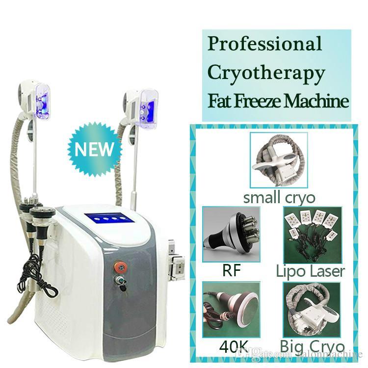 Criolipólisis grasa de congelación de la máquina de la cintura que adelgaza la cavitación RF máquina láser Lipo Cryo 2 cabezales pueden trabajar al mismo tiempo CE / DHL