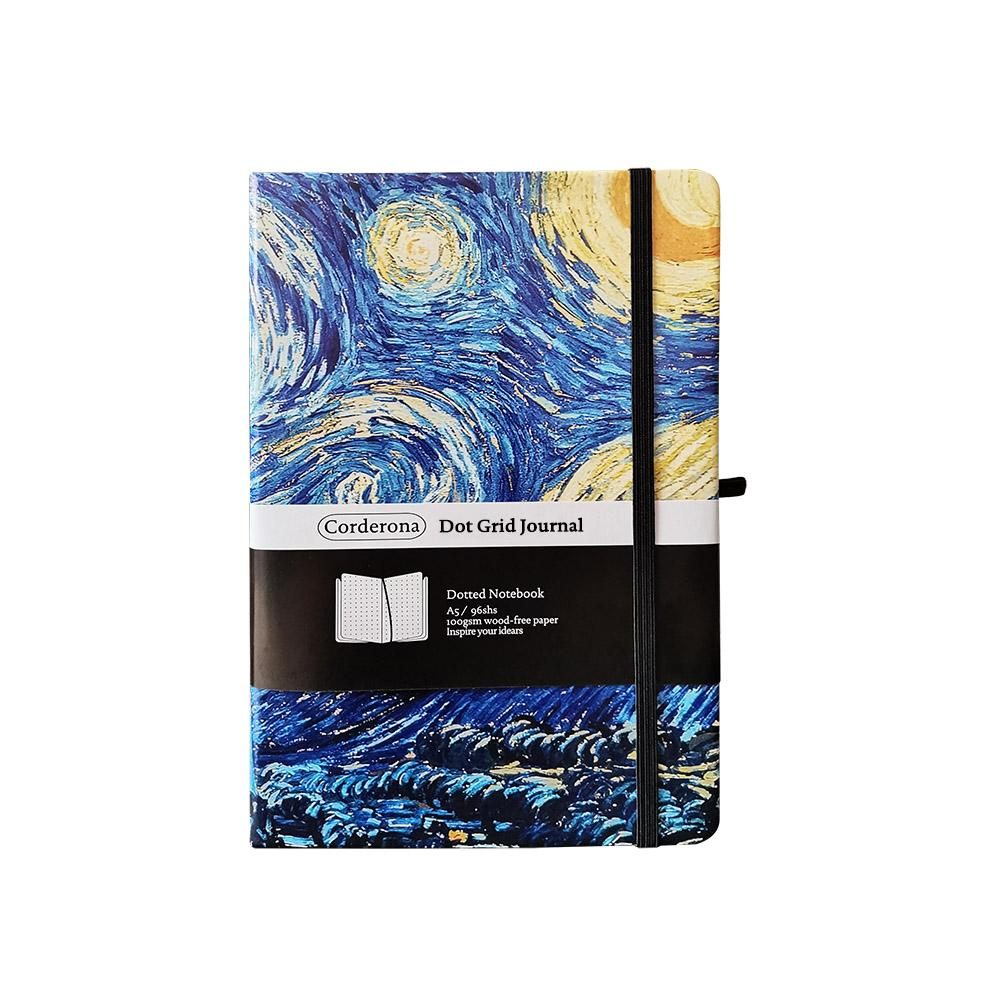 A5 Dotted Bullet Notebook Hard Cover Travel Planner Diary Van Gogh Starry Night Blossoming Almond Tree Dot Grid Journal