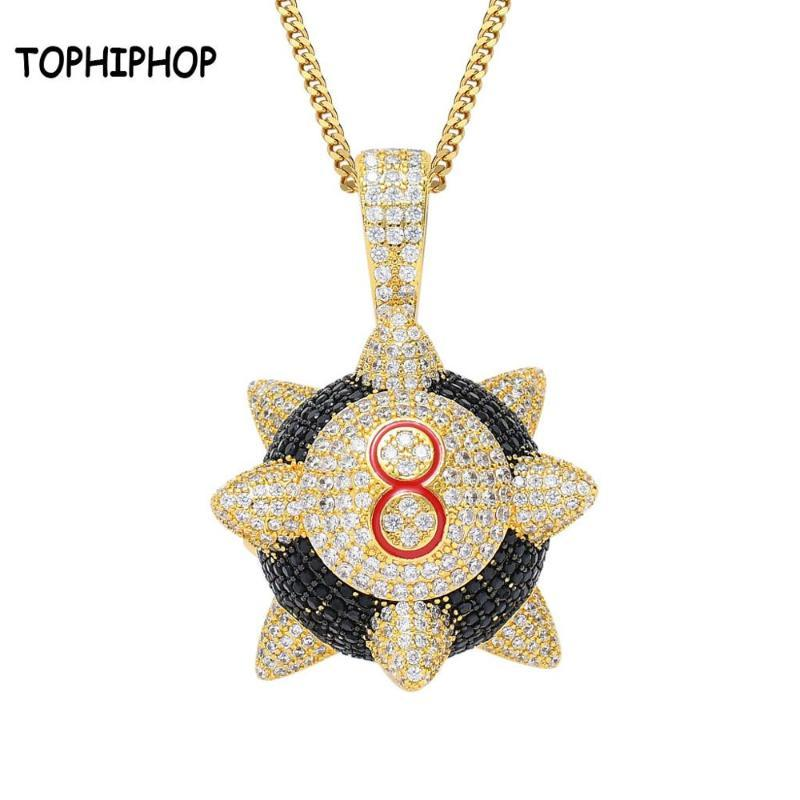 TOPHIPHOP Charm marteau Meteor Snumber 8 Pendentifs avec Tennis Matériel de la chaîne Cuivre Zircon Hip Hop Bijoux Cadeau