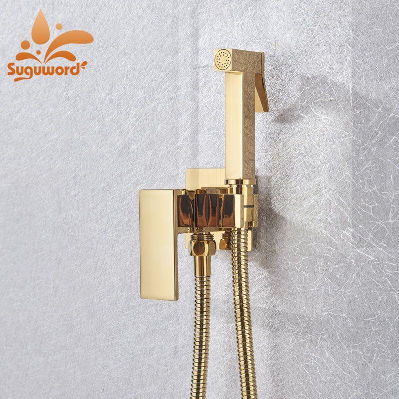 золото розовое золото биде кран горячая популярная Настенное крепление одно отверстие аксессуары для ванны HotCold смеситель