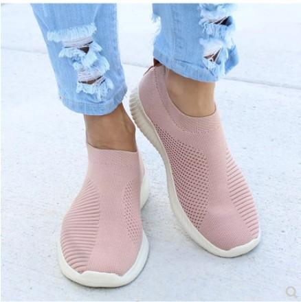 Zapatos de mujer Más el tamaño 43 Mujer Vulcaniza los zapatos Moda Slip On Calcetín Zapatos de malla de aire zapatillas de deporte planas Casual Tenis Feminino