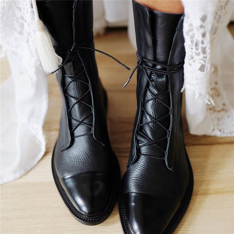 Women Vintage Mid Calf Boots Womens