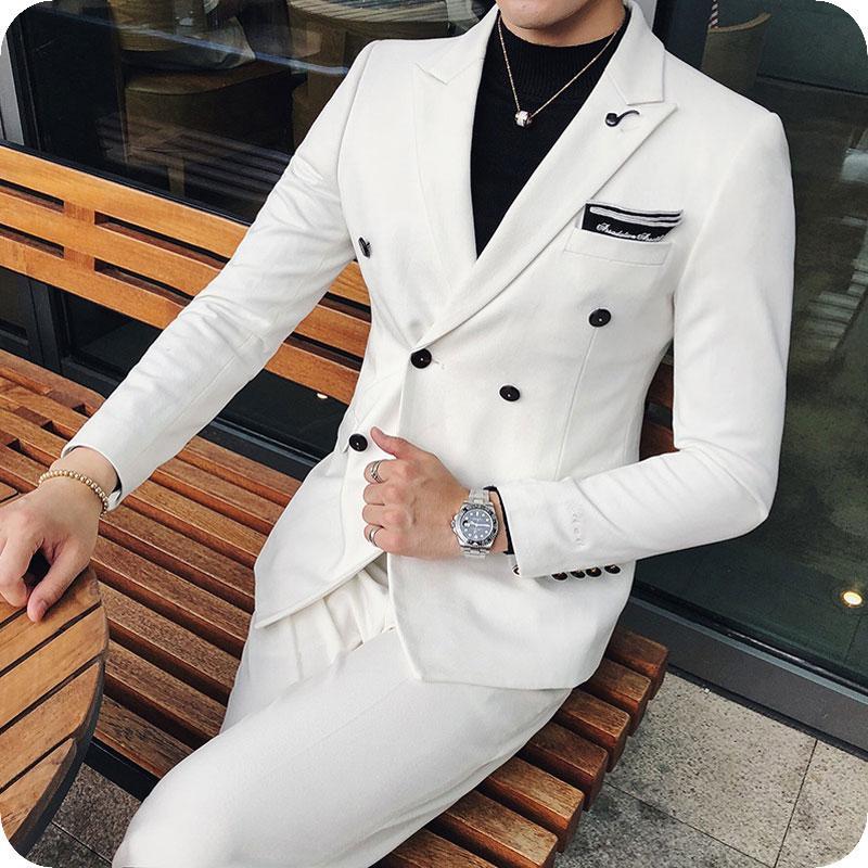 Mann-weißen Anzüge für Business-Bräutigam Smoking trajes de hombre 2Piece Slim Fit Kostüm Homme zweireihigen Best Man Outfits Terno Masculino