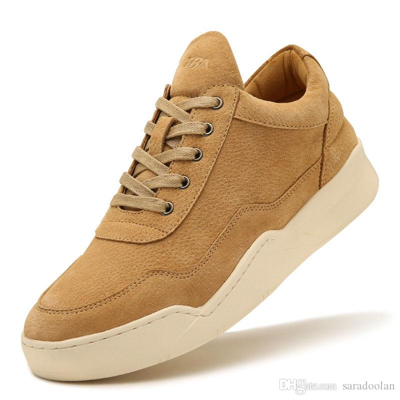 Cheap Price 2019 TB4808 Men British Trend Warm Casual SHOES Sandy Grey Camel Split with Flock Upper Muscle Outosle Male casual Walking Shoes