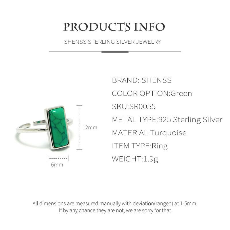 SHENSS Elegant Quality 925 Sterling Silver Rings For Women Personality Marble Styrone Long Stone Open Ring SR0055