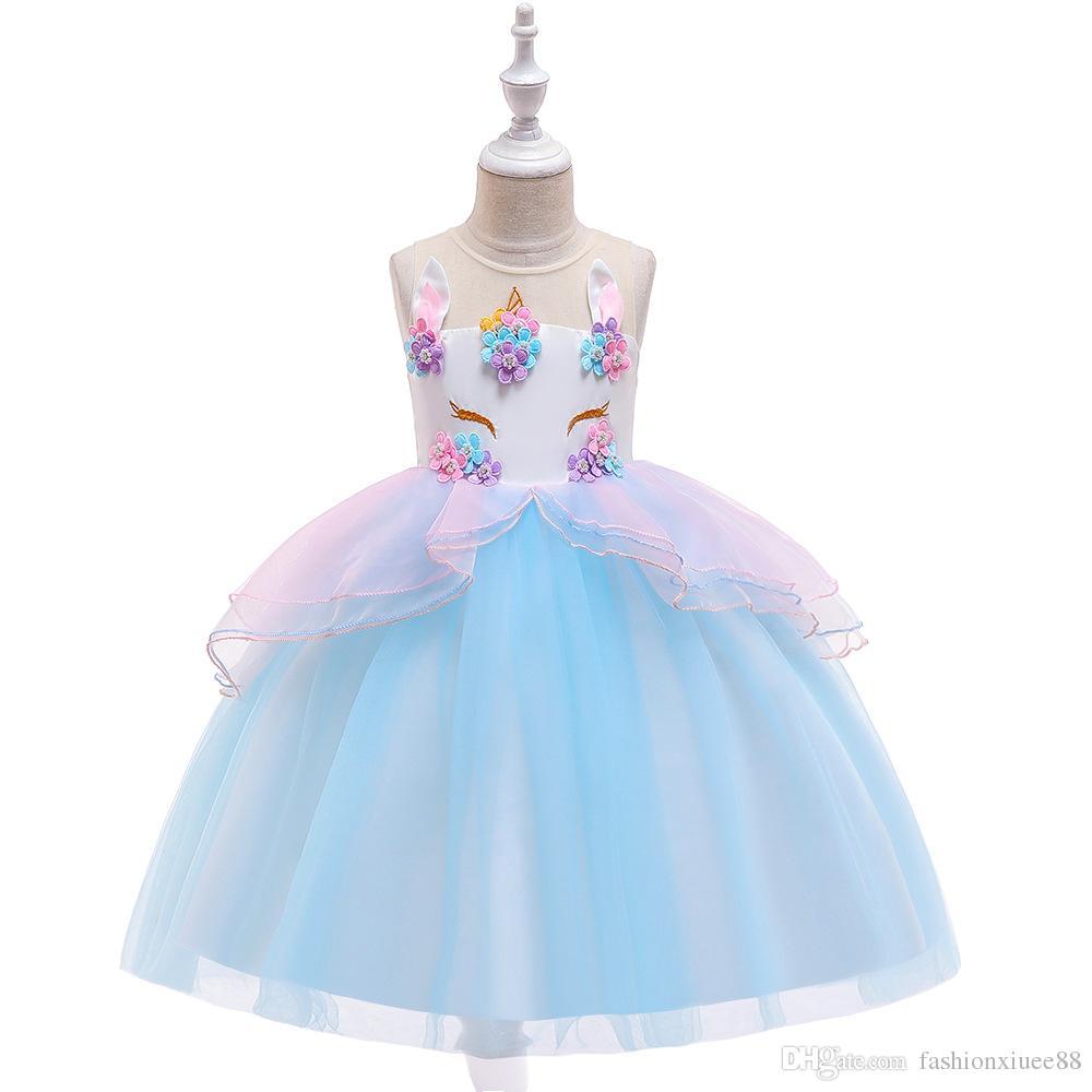 Vestidos de niña de flores de color azul cielo para la fiesta formal de la boda en la noche En stock Vestidos para niñas Vestidos de cumpleaños para niños pequeños