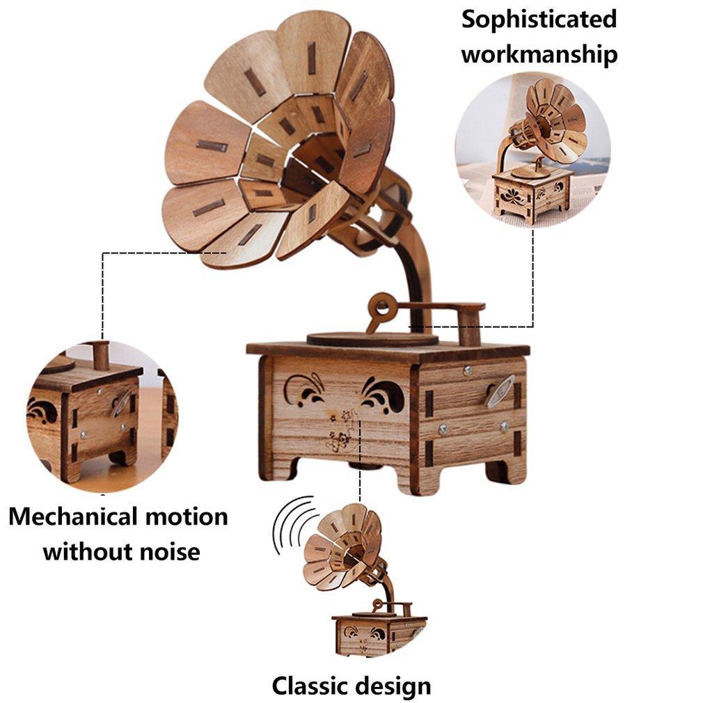 Creativas Gramophone cajas musicales de bricolaje de madera Music Box Wood Crafts retro para el cumpleaños de la vendimia regalo la decoración del hogar Accesorios