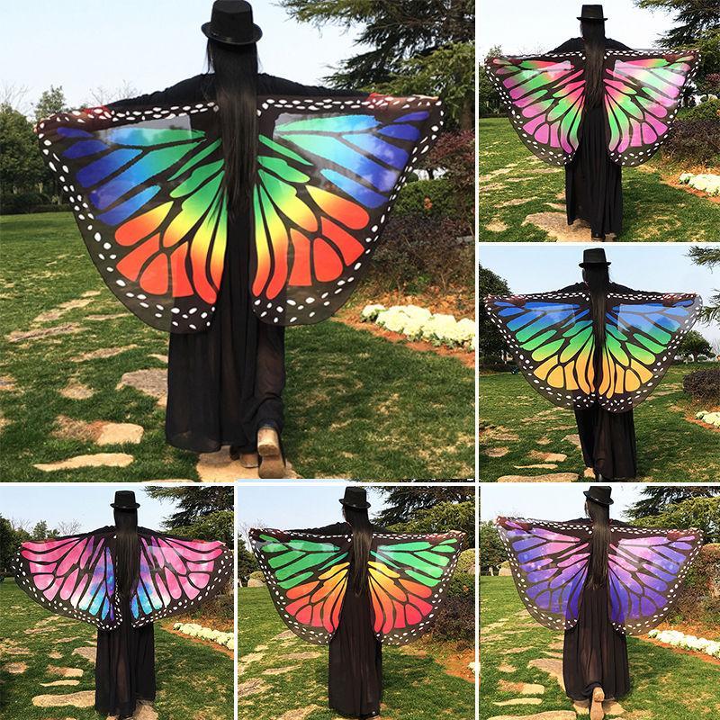 Çok tarzı Renkli Yumuşak Kumaş Kelebek Kanatları Peri Bayanlar Kapak-Ups Plaj Wrap Kostüm Aksesuar