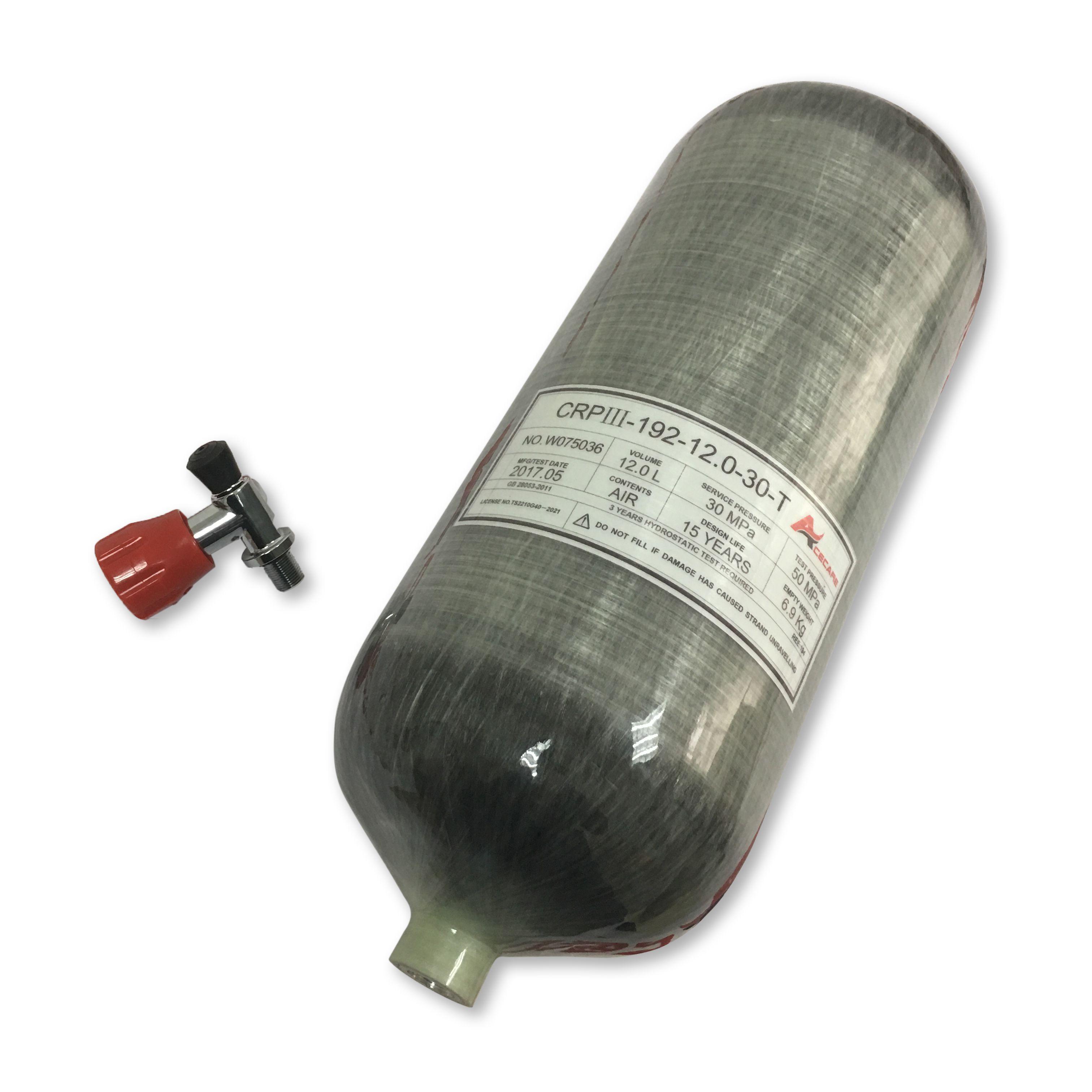 AC31211 Acecare 12L GB 300 bares de aire comprimido grande de fibra de carbono del cilindro para el paintball Pcp tanque de aire que rellena con válvula de envío de la gota