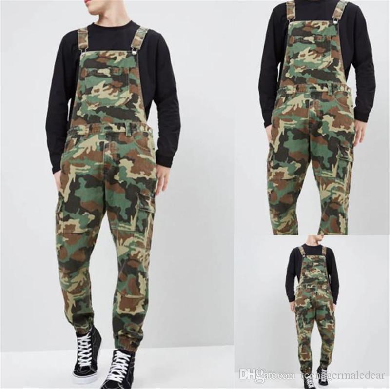 Tute da uomo in denim mimetico camouflage firmate Designer Tute Pantaloni da uomo slim slim moda