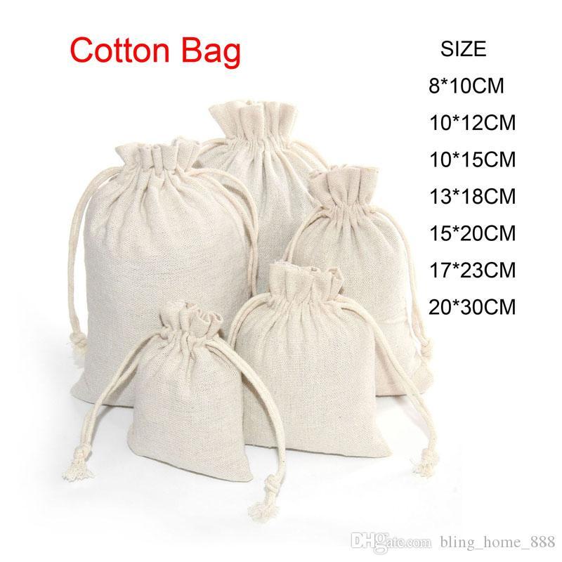 Pulsera de algodón de lino con asas Pequeño muselina regalos de la joyería bolsas de embalaje linda bolsa de regalo con cordón bolsas caramelo bolsa de almacenamiento para los niños