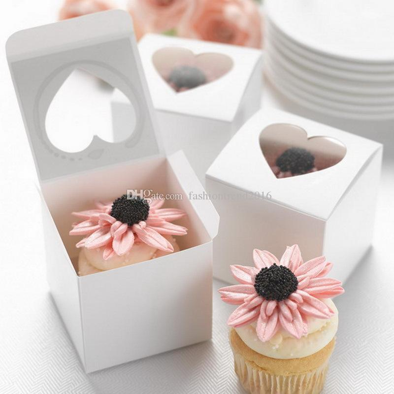 Single Cupcake Cake Box with Clear Heart Shape Window White Cardboard Small Gift Boxes Christmas Wedding Favor Candy Package Boxes
