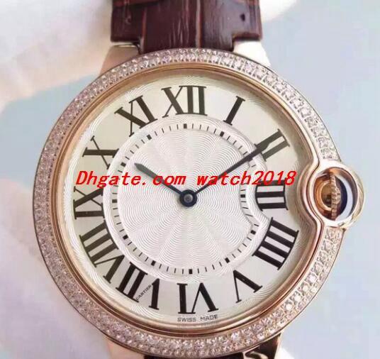 Frete grátis Relógio de luxo 5 Estilo Ballon Bleu we902056 Relógios 40 milímetros WE902055 18K White Gold diamante fábrica moldura Homens de Moda de quartzo