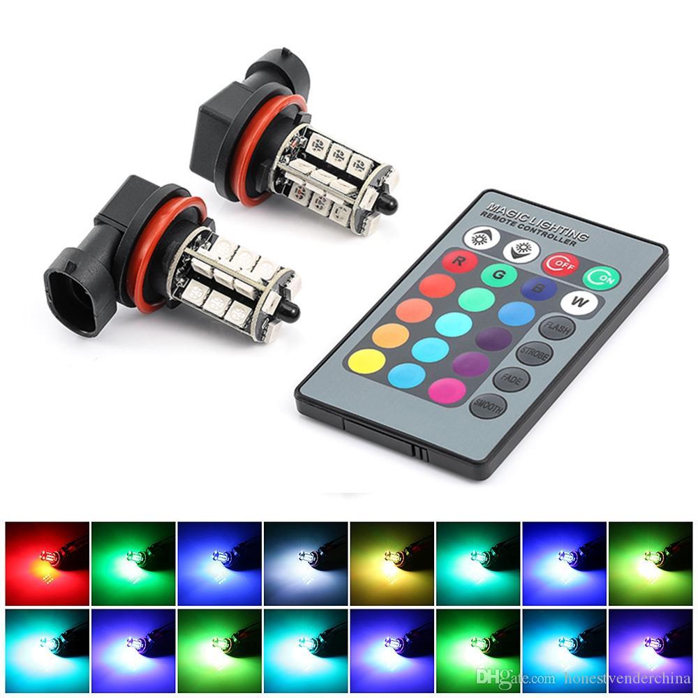 L'automobile ha condotto le luci fendinebbia RGB per Auto 27SMD fendinebbia colorate H11 lampade con flash flash stroboscopici 16 modelli