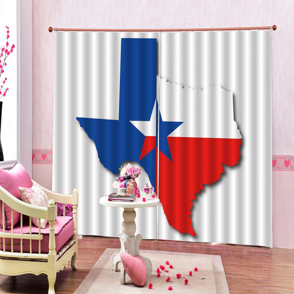 Custom Flag Red Blue Star blackout curtain Print Photo For Living room Bedroom Window Curtains sets(left and right side)