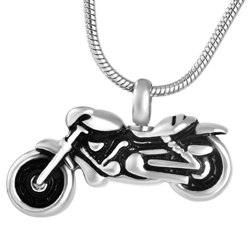 Motorista de la motocicleta de la vendimia colgante cremación de acero inoxidable 316L H8605 joyería collar del recuerdo de Memorial urna para cenizas
