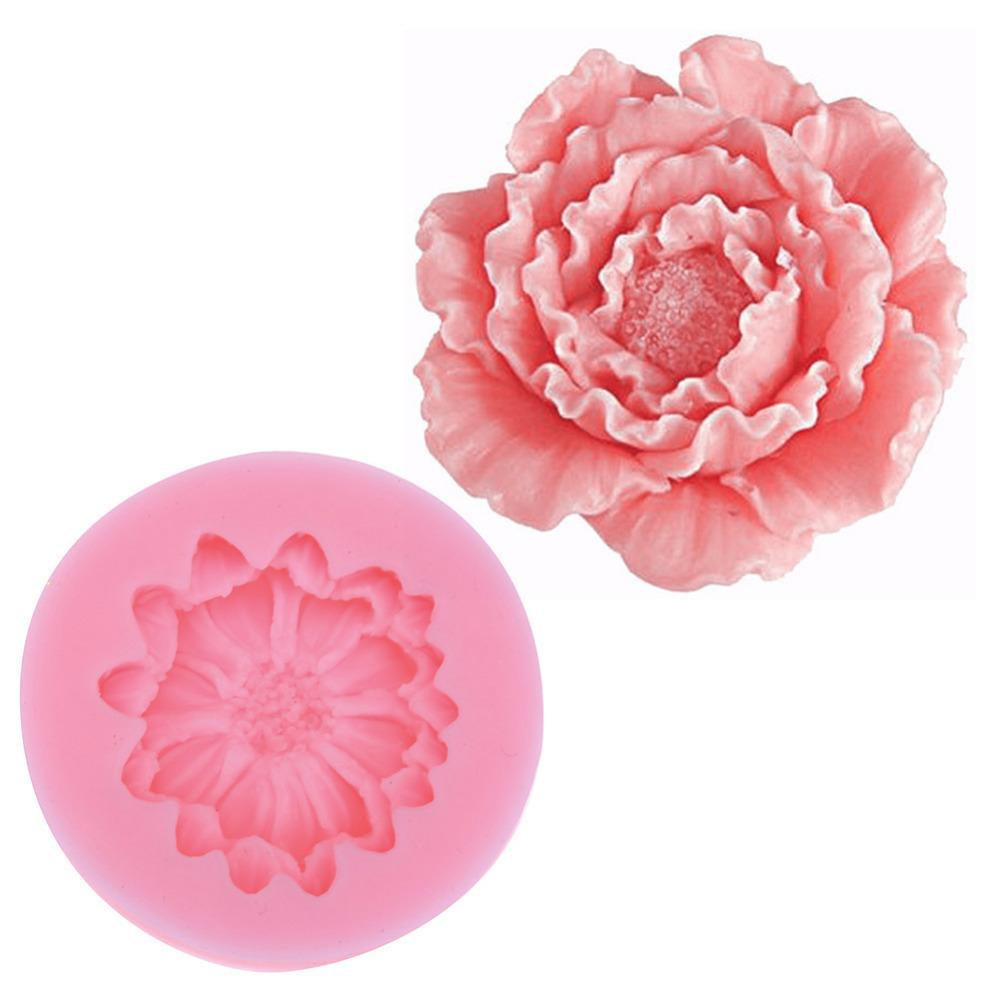 Small Lily Peony Shape Silicone Mold Fondant Chocolate Soap Moulds Candy Cake Molds Embossed Sugar Arts Flower Diy Wedding Decor C19022801