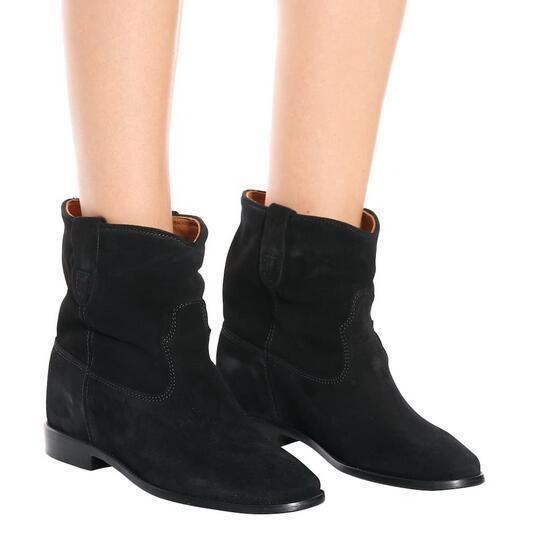 Perfeito Botas Moda de Paris Isabel Crisi Suede Botas Preto Genuine couro Marant Ocidental Tornozelo Botas Sapatos