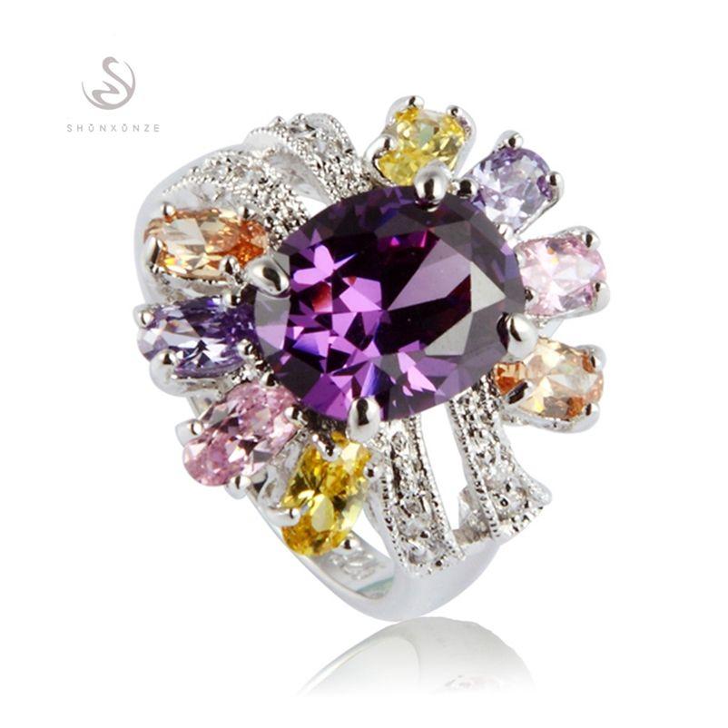 SHUNXUNZE best sell Wedding rings jewelry for women Pink Peridot Morganite Blue yellow Purple Cubic Zirconia Rhodium plated R368 size 6 - 9