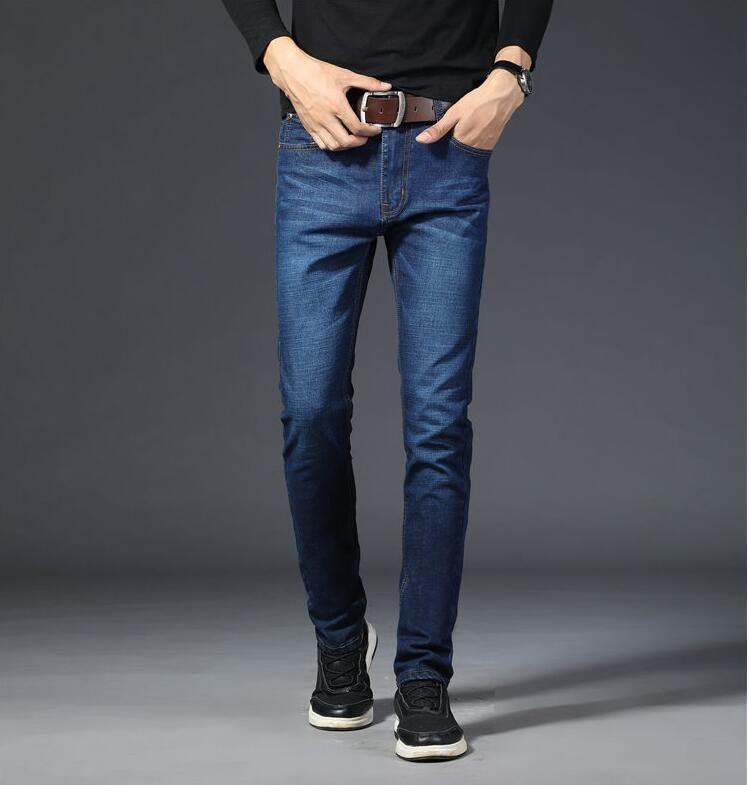 Compre Pantalones Vaqueros Para Hombres Pantalones De Mezclilla New Trend Tubo Recto En La Cintura Azul Solido Negro Adelgazamiento Casual Four Seasons 28 40 Yardas A 18 39 Del Rhythmkw Dhgate Com