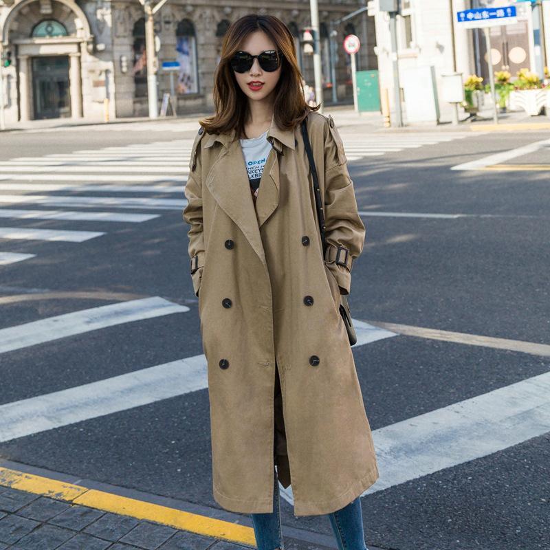 cazadora larga sección 2019 versión coreana de las nuevas mujeres de la mujer de la cintura delgada temperamento era la primavera de doble botonadura y au