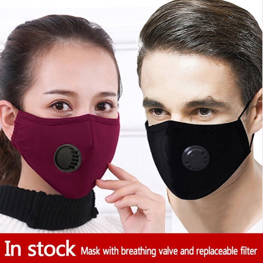 Masque bouche valve Respiration 1 masque + 2 filtres à poussières lavables respirateurs Masques réutilisables unisexes bouche moufles Livraison gratuite