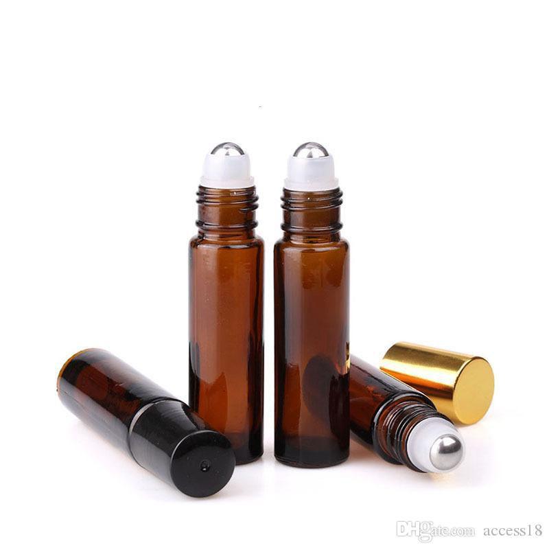 Sıcak Parfüm Esansiyel Yağı, Metal Silindir Balls Ve Altın Cap ile Amber Cam Silindir şişeler için Rulo On Cam Şişe boşaltın 10ml
