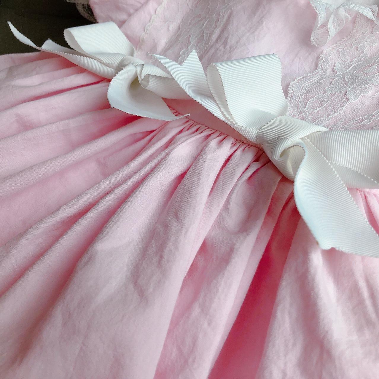 Bébé Filles Magnifique Espagnol Style Blanc Rose Floral /& Bow robe