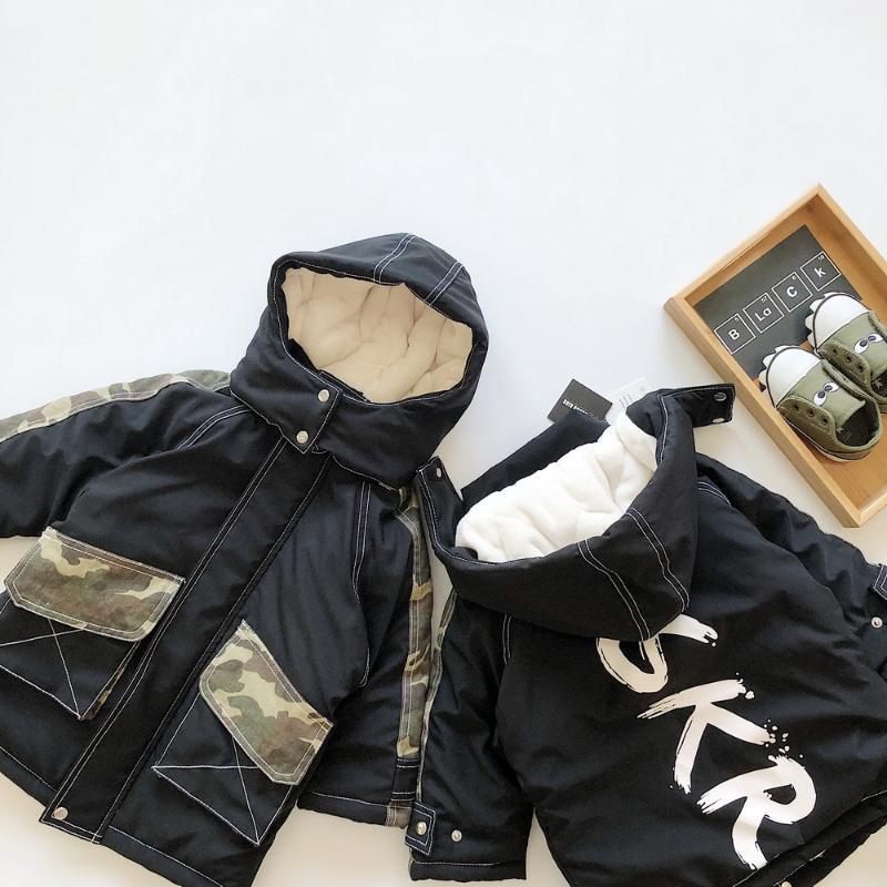 Tonytaobaby Children's Clothing Boy's Fashion Camouflage Large Pocket Long Hooded Plush Coat Cotton Padded Jacket