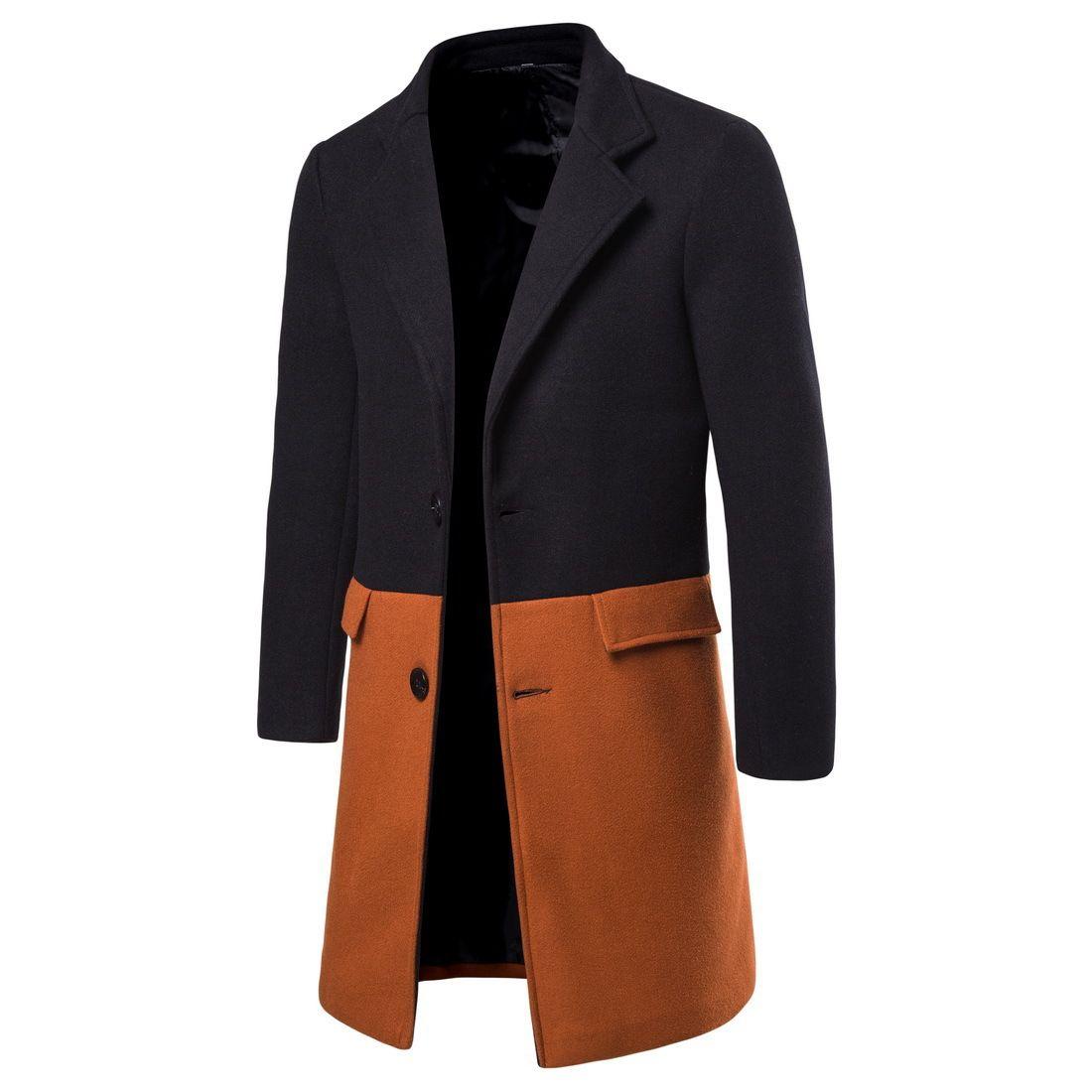 Sonbahar Yeni Ürünler Yün Ceket Erkek Moda Slim Fit Orta uzunlukta Kontrast Renk Yün Coat Yf02