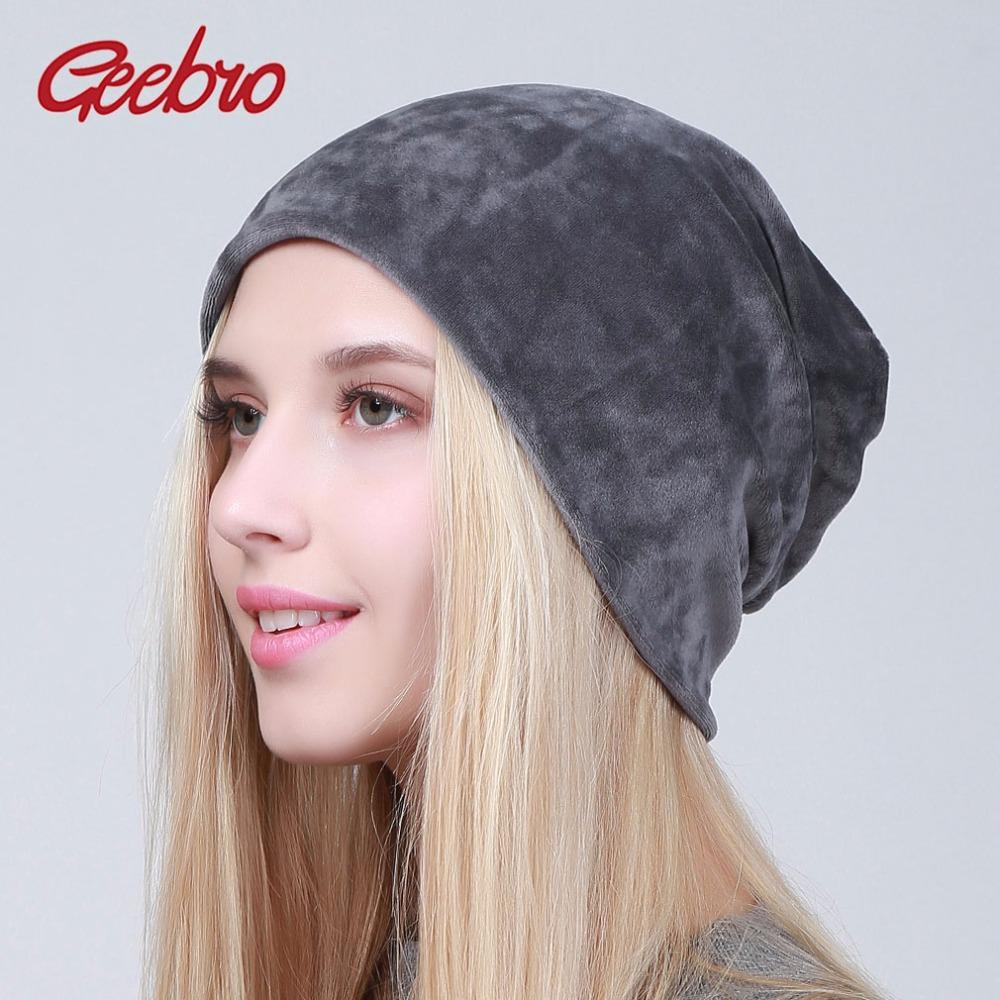 Geebro Brand Women's Velour Beanie Hats Spring 2018 Casual Hat For Women 100% Polyester Skull Beanies Balaclava Female Cap