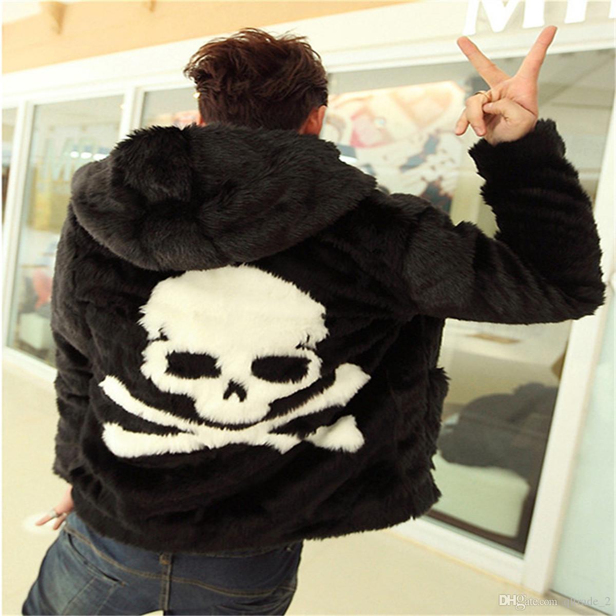Moda nera da strada Uomo Pelliccia sintetica con cappuccio in pelliccia con cappuccio, giacche e giubbotto in pelliccia sintetica