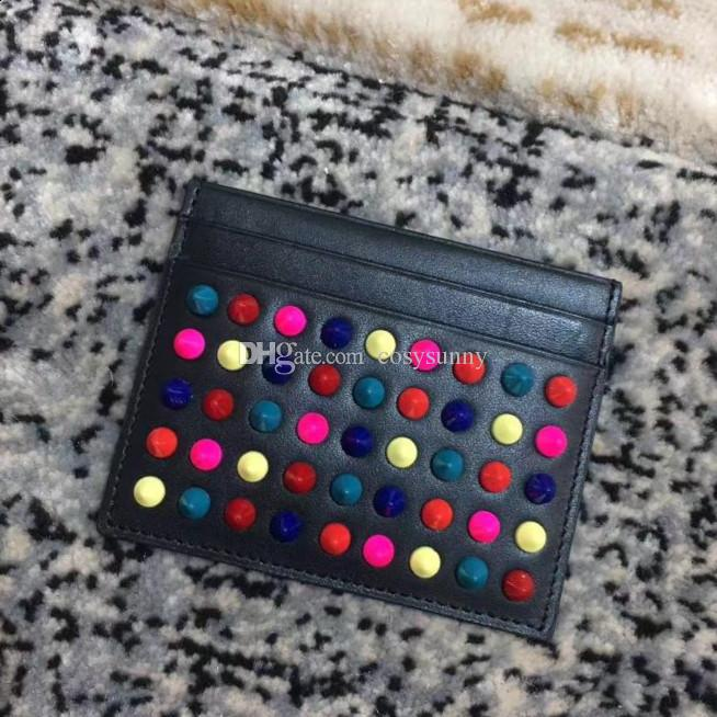 A la manera nueva cartera de cuero negro onda del rojo azul bolso de la tarjeta de uñas perla púrpura para los hombres y las mujeres bolso de la tarjeta de negocios de vanguardia bolso de la tarjeta