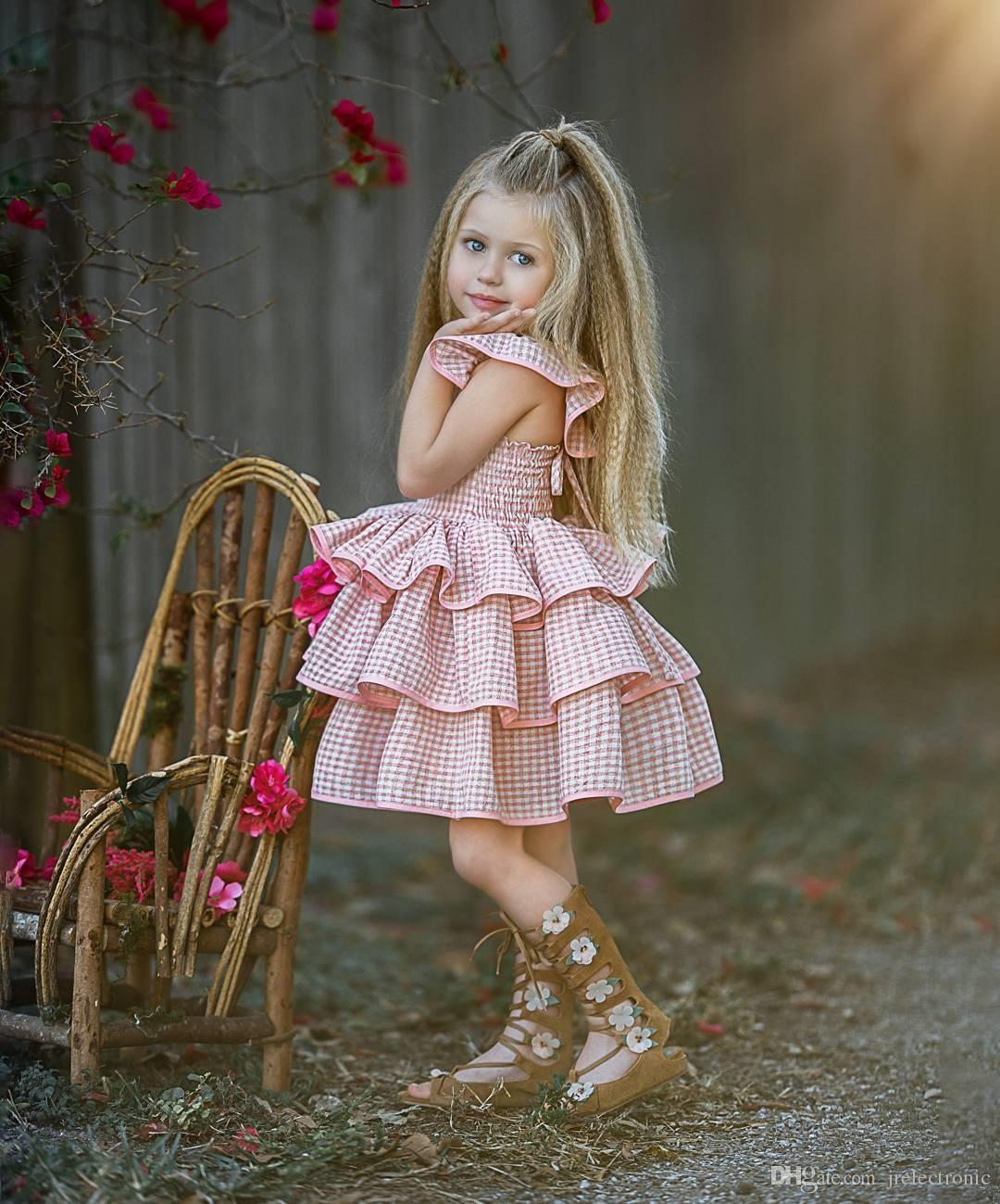 1-6Y طفل أطفال اطفال بنات منزعج فستان الشمس الصيف حزب مهرجان الطبقات الأميرة اللباس الأطفال ملابس طفلة