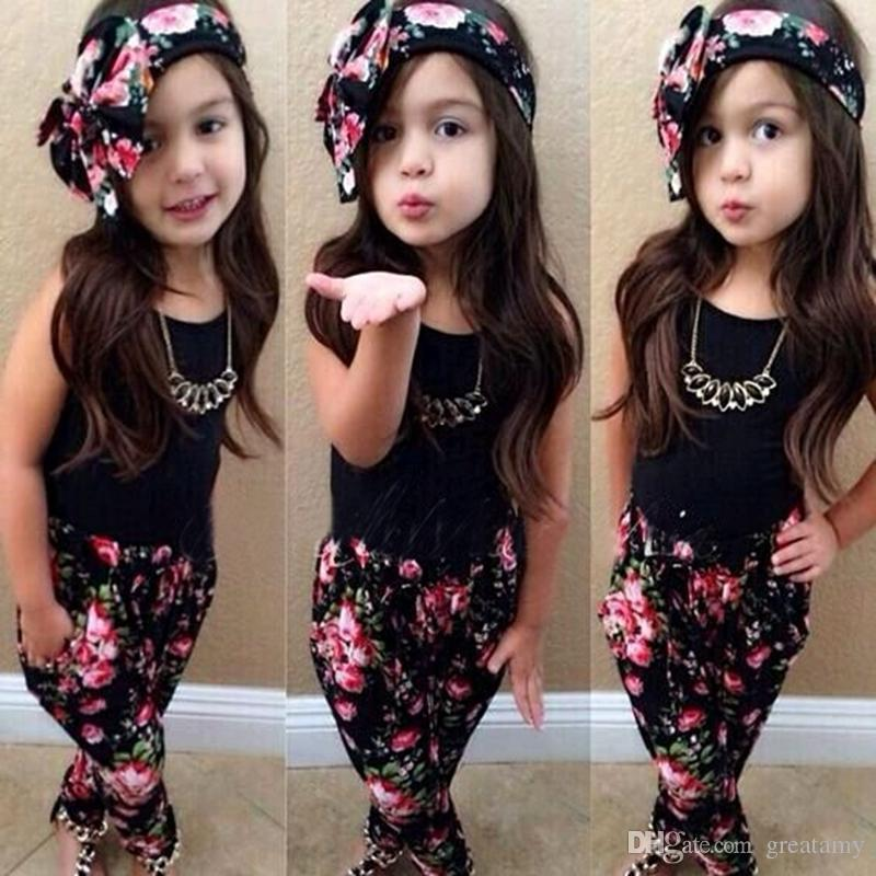 New fashion baby girls clothing set solid colors white black T-shirt vest+floral ripped pants headband kids clothes suit