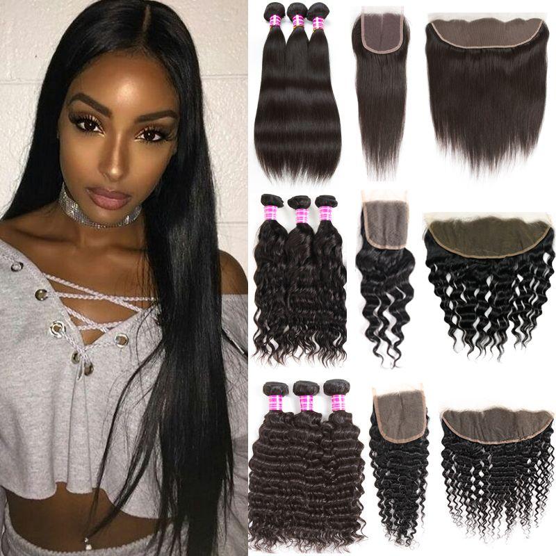 Unverarbeitete brasilianische Body Wave Human Hair Bündel mit Verschluss Gerade Rohe Indische Jungfrau Haarbündel mit Frontal Kinky Tiefverlängerung