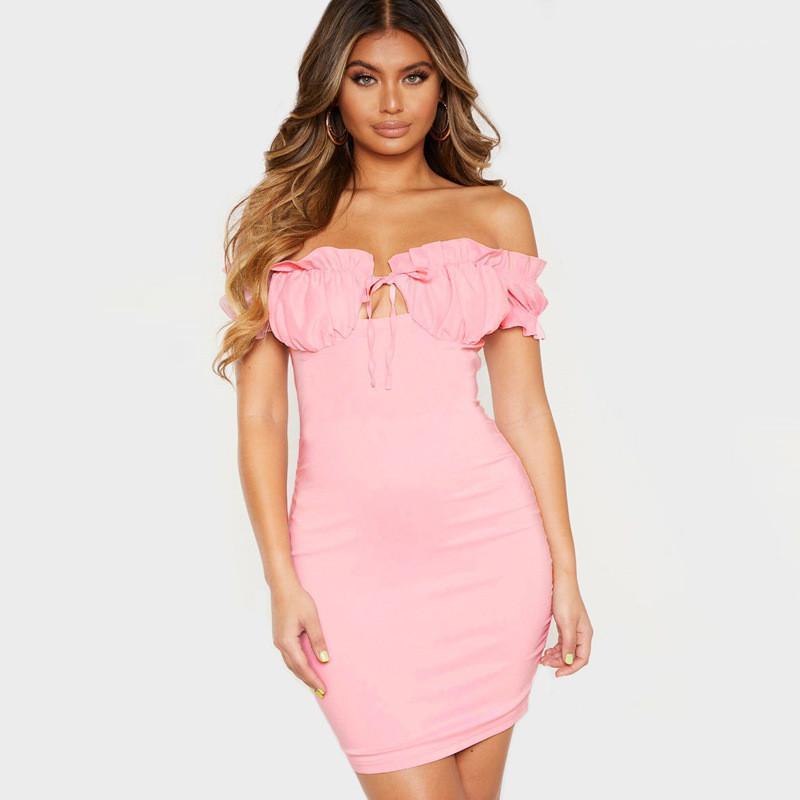 لون الفساتين ملابس نسائية مصمم الكشكشة فساتين مثير نحيل فساتين حمالة الأزياء النفخة كم الطبيعية